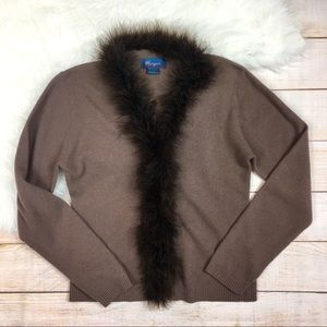 Monsoon brown lambswool feather trim cardigan 10
